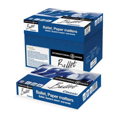 Бумага офисная А3, класс B, BALLET CLASSIC, 80г/м, 500л,ColorLok, International Paper, бел.153%(CIE)  Код: 110111