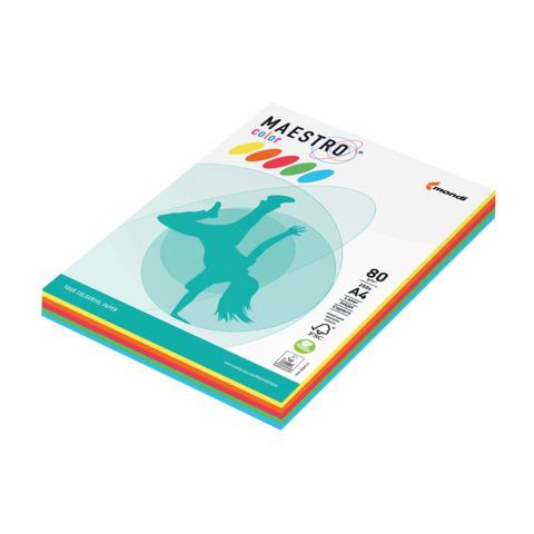 Бумага MAESTRO color А4, 80 г/м, 250 л. (5цв.x50л.) цветная интенсив RB02 ш/к 23081  Код: 110214