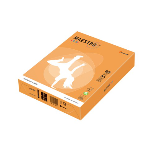 Бумага MAESTRO color А4, 80 г/м, 500 л. неон оранжевая NEOOR ш/к 22992  Код: 110226