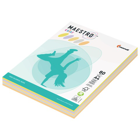 Бумага MAESTRO color А4, 80 г/м, 250 л. (5цв.х50л.) цветная умеренно-интенсив (тренд) RB03 ш/к 23340  Код: 110247