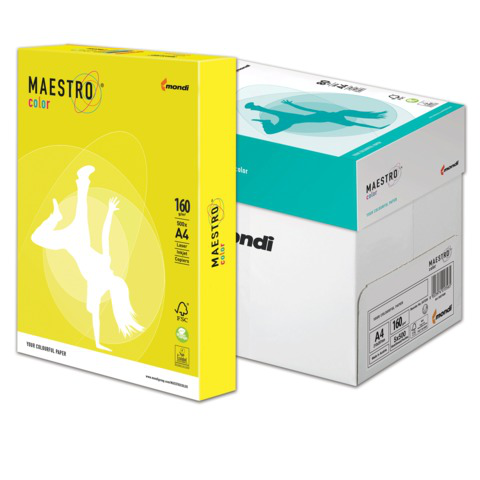 Бумага MAESTRO color А4, 160 г/м, 250 л. интенсив канареечно-желтая CY39 ш/к 23937  Код: 110314