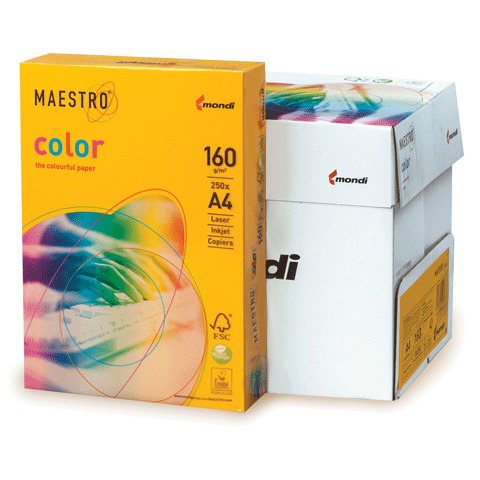 Бумага MAESTRO color А4, 160 г/м, 250 л. интенсив солнечно-желтая SY40 ш/к 23944  Код: 110317