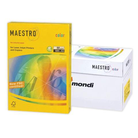 Бумага MAESTRO color А3, 80 г/м, 500 л. интенсив канареечно-желтая CY39 ш/к 23753  Код: 110319