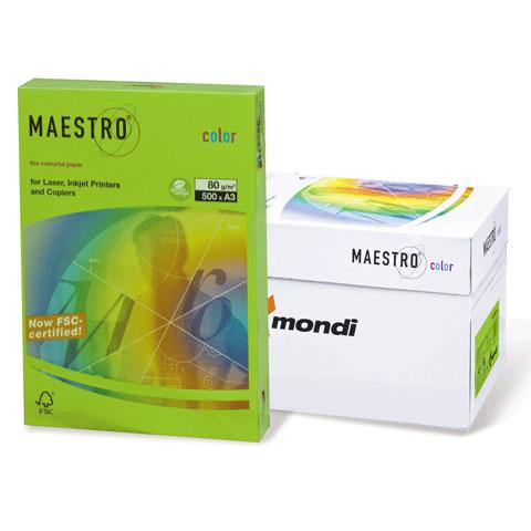 Бумага MAESTRO color А3, 80 г/м, 500 л. интенсив зеленая MA42 ш/к 23777  Код: 110320