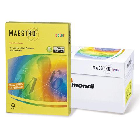 Бумага MAESTRO color А3, 80 г/м, 500 л. интенсив солнечно-желтая SY40 ш/к 23760  Код: 110322