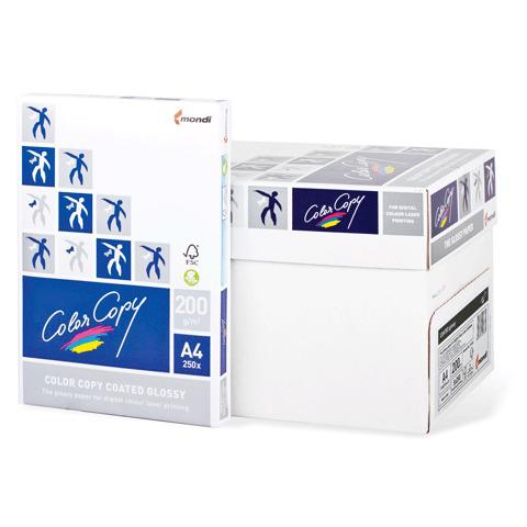 Бумага COLOR COPY GLOSSY белая мел глянцевая А4, 200г/м, 250л., А++, Австрия, 138%(CIE), ш/к 26099  Код: 110335