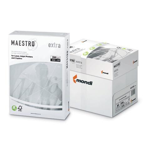 "Бумага MAESTRO EXTRA А4, 200 г/м, 250 л. класс ""А+"" Австрия белизна 169% (CIE), ш/к 31604  Код: 110344"