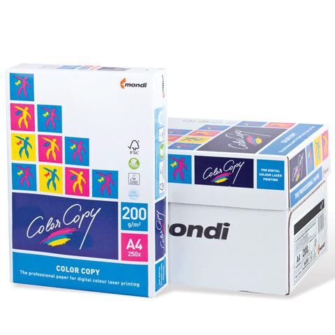 Бумага COLOR COPY А4, 200г/м, 250л., д/полноцв.лазерной печати, А++, Австрия, 161%(CIE), ш/к 04288  Код: 110349