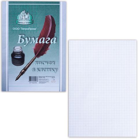 Бумага писчая в клетку А4, 55г/м, 100 л., ш/к 97928/90936  Код: 110394