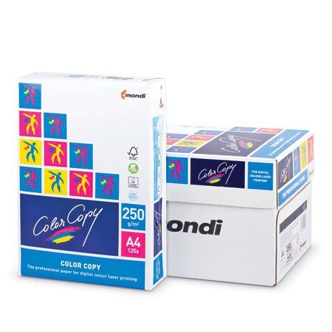 Бумага COLOR COPY белая А4, 250г/м, 125л. д/полноцветной печати, А++, Австрия, 161%(CIE), ш/к 43775  Код: 110397