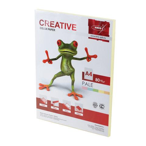 Бумага CREATIVE color (Креатив) А4, 80г/м, 100 л. пастель желтая, БПpr-100ж, ш/к 41881  Код: 110501