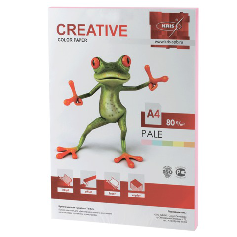 Бумага CREATIVE color (Креатив) А4, 80г/м, 100 л. пастель розовая, БПpr-100р, ш/к 40693  Код: 110502