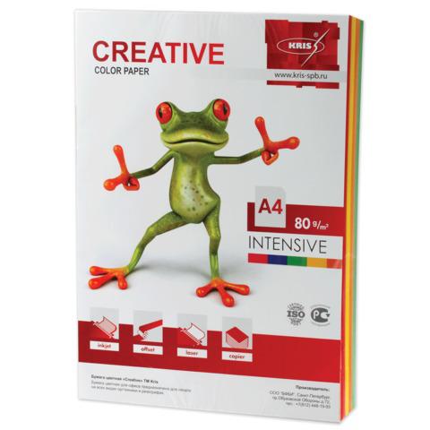 Бумага CREATIVE color (Креатив) А4, 80г/м, 100 л (5 цв.х20л.) цветная интенсив, БИpr-100r, ш/к 44486  Код: 110504