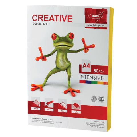 Бумага CREATIVE color (Креатив) А4, 80г/м, 100 л. интенсив желтая, БИpr-100ж, ш/к 45216  Код: 110505