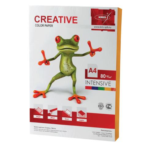 Бумага CREATIVE color (Креатив) А4, 80г/м, 100 л. интенсив оранжевая, БИpr-100ор, ш/к 45247  Код: 110506