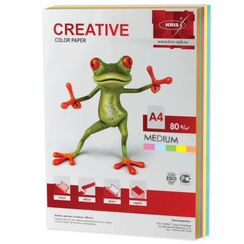 Бумага CREATIVE color (Креатив) А4, 80г/м, 250 л. (5 цв.х50л.) цветная медиум, БОpr-250r, ш/к 40747  Код: 110512