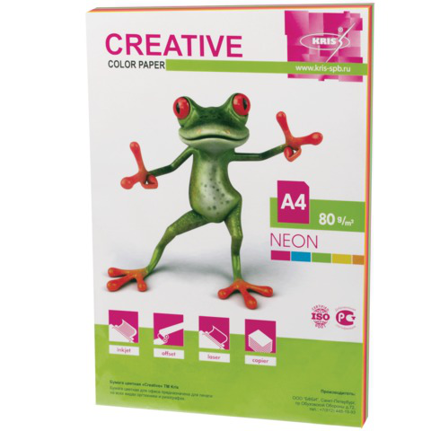 Бумага CREATIVE color (Креатив) А4, 80г/м, 50 л. (5 цв.х10л.) цветная неон, БНpr-50r, ш/к 41447  Код: 110513