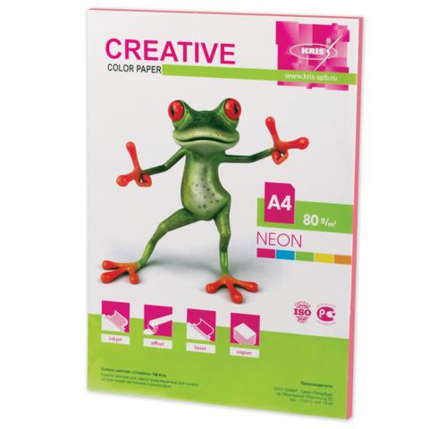 Бумага CREATIVE color (Креатив) А4, 80г/м, 50 л. неон розовая, БНpr-50р, ш/к 43328  Код: 110514