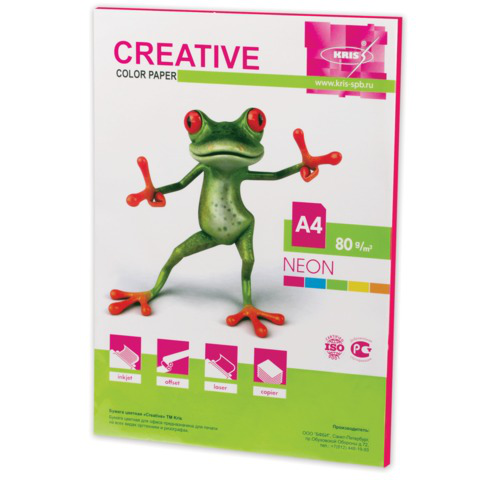 Бумага CREATIVE color (Креатив) А4,  80г/м, 50 л. неон малиновая, БНpr-50м, ш/к 44868  Код: 110515