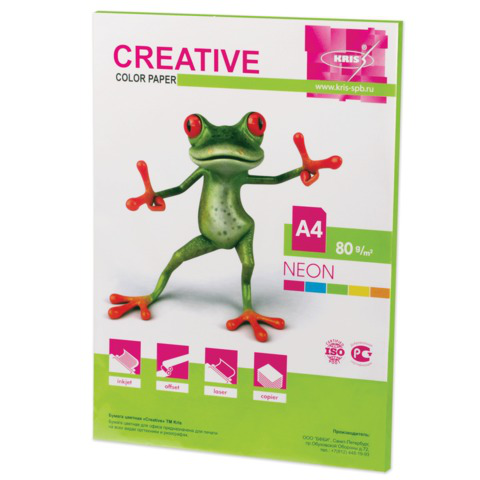 Бумага CREATIVE color (Креатив) А4, 80г/м, 50 л. неон салатовая, БНpr-50с, ш/к 44882  Код: 110516
