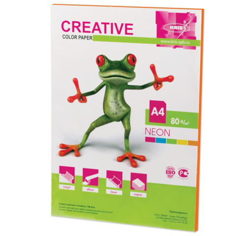 Бумага CREATIVE color (Креатив) А4, 80г/м, 50 л. неон оранжевая, БНpr-50ор, ш/к 40402  Код: 110518