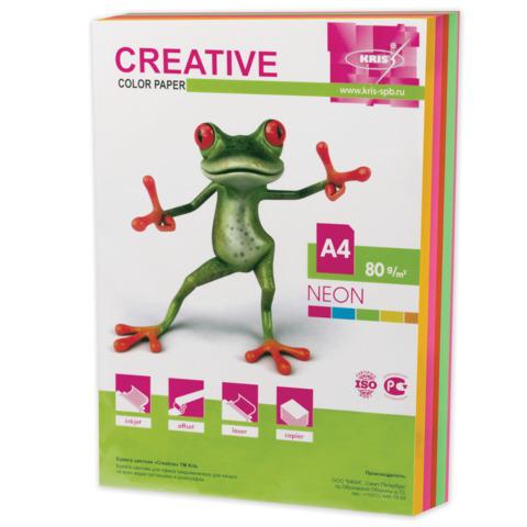 Бумага CREATIVE color (Креатив) А4, 80г/м, 250 л. (5 цв.х50л.) цветная неон, БНpr-250r, ш/к 41942  Код: 110519