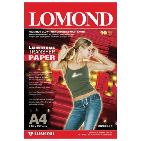 Бумага термотрансферная LOMOND флуоресцентная, А4, 10 шт., 140 г/м2 0808431  Код: 110531