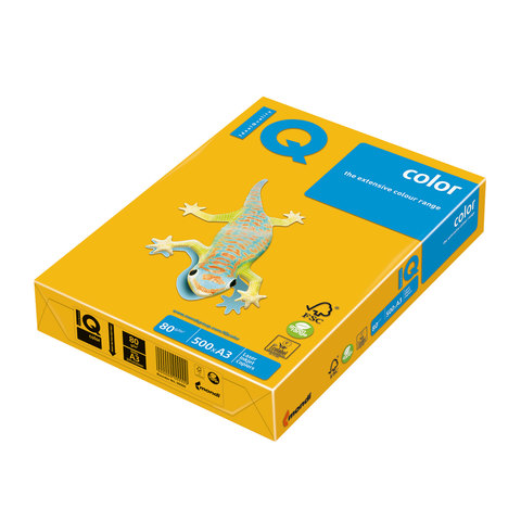 Бумага IQ (АйКью) color А3, 80 г/м, 500 л., интенсив солнечно-желтая SY40 ш/к 00693  Код: 110684