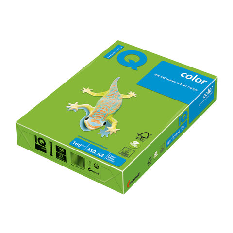 Бумага IQ (АйКью) color А4, 160 г/м, 250 л., интенсив зеленая MA42 ш/к 06480  Код: 110685