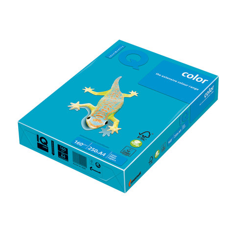 Бумага IQ (АйКью) color А4, 160 г/м, 250 л., интенсив светло-синяя AB48 ш/к 00969  Код: 110688