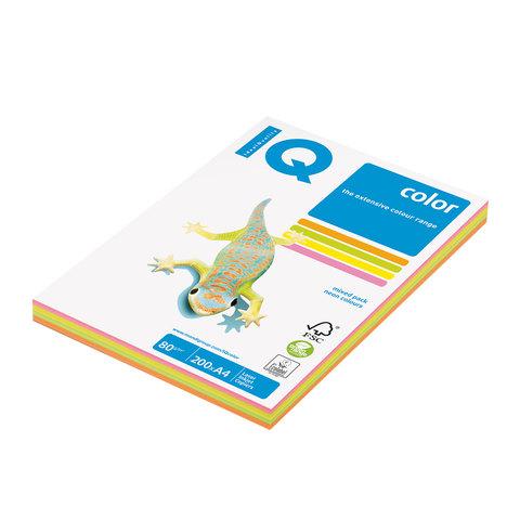 Бумага IQ color А4, 80 г/м, 200 л. (4цв.x50л.), цветная неон RB04 ш/к 07470  Код: 110690