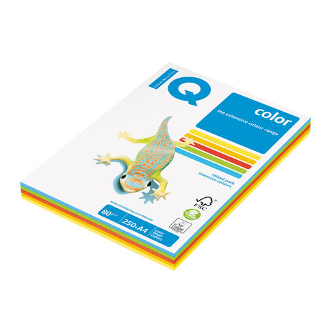 Бумага IQ color А4, 80 г/м, 250 л. (5цв.x50л.), цветная интенсив RB02 ш/к 07579  Код: 110691
