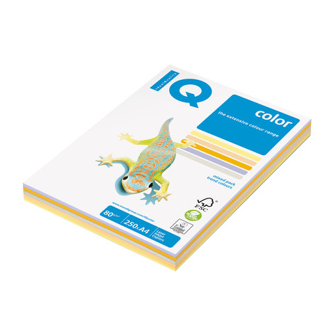 Бумага IQ (АйКью) color А4, 80 г/м, 250 л.(5цв.х50л.)цветная умеренно-интенсив(тренд)RB03 ш/к 08002  Код: 110693