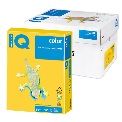 Бумага IQ color А3, 80 г/м, 500 л., интенсив, ярко-желтая, IG50, ш/к 08309  Код: 110762