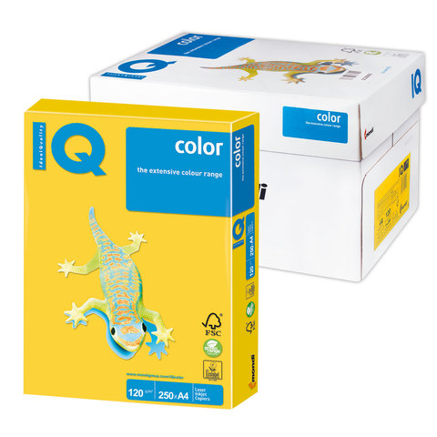 Бумага IQ color А4, 120 г/м, 250 л., интенсив, ярко-желтая, IG50, ш/к 08323  Код: 110768