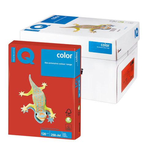 Бумага IQ color А4, 120 г/м, 250 л., интенсив, кораллово-красная, CO44, ш/к 07159  Код: 110771