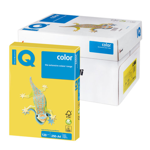 Бумага IQ (АйКью) color А4, 120 г/м, 250 л., интенсив канареечно-желтая CY39 ш/к 07036  Код: 110772