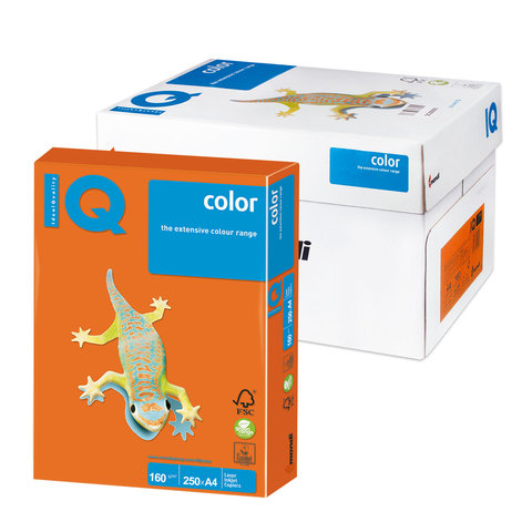 Бумага IQ color А4, 160 г/м, 250 л., интенсив, оранжевая, OR43, ш/к 01041  Код: 110777
