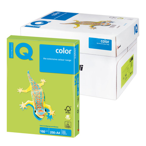 Бумага IQ color А4, 160 г/м, 250 л., интенсив зеленая липа LG46 ш/к 01010  Код: 110778