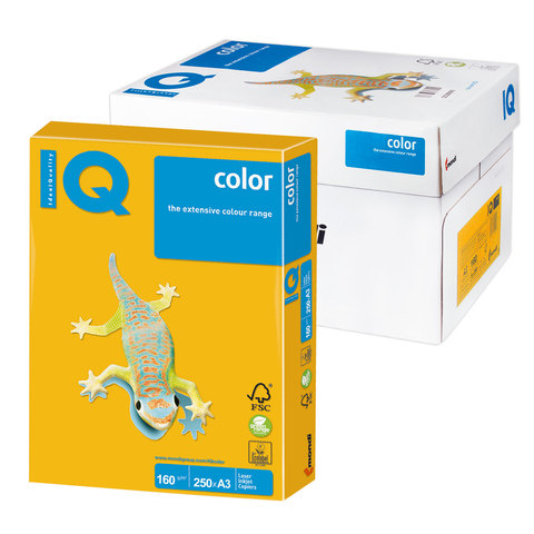 Бумага IQ (АйКью) color А3, 160 г/м, 250 л., интенсив солнечно-желтая SY40 ш/к 07098  Код: 110780