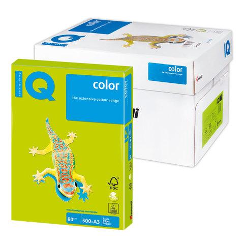 Бумага IQ (АйКью) color А3, 80 г/м, 500 л., неон зеленая NEOGN ш/к 12603  Код: 110783