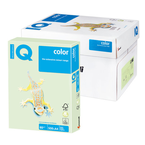 Бумага IQ color А4, 80 г/м, 500 л., пастель светло-зеленая GN27 ш/к 00624  Код: 110788