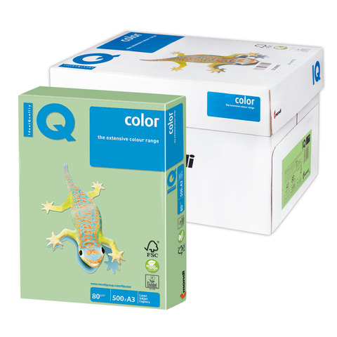 Бумага IQ color А3, 80 г/м, 500 л., пастель, зеленая, MG28, ш/к 02727  Код: 110797
