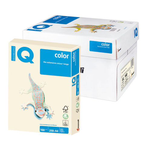 Бумага IQ (АйКью) color А4, 160 г/м, 250 л., пастель кремовая CR20 ш/к 00051  Код: 110802
