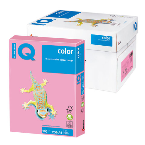 Бумага IQ color А4, 160 г/м, 250 л., пастель, розовый фламинго, OPI74, ш/к 16861  Код: 110805