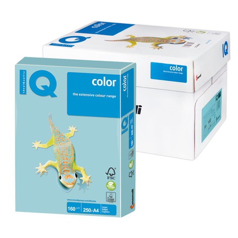 Бумага IQ color А4, 160 г/м, 250 л., пастель голубая MB30 ш/к 00143  Код: 110810