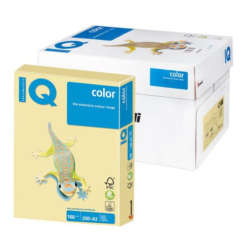 Бумага IQ color А3, 160 г/м, 250 л., пастель, желтая, YE23, ш/к 00228  Код: 110813