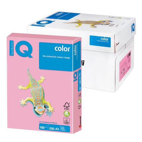 Бумага IQ color А3, 160 г/м, 250 л., пастель розовая PI25 ш/к 00280  Код: 110814