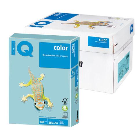 Бумага IQ color А3, 160 г/м, 250 л., пастель, голубая, MB30, ш/к 00143  Код: 110816