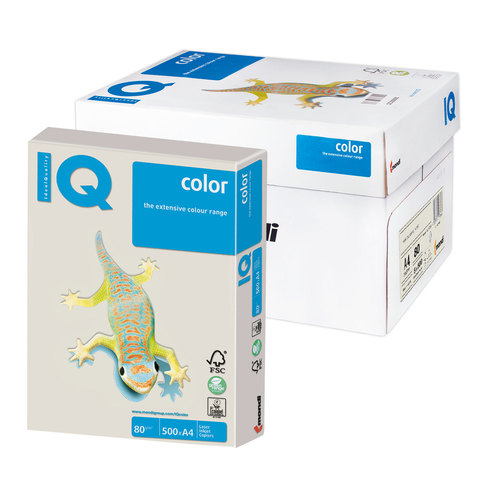 Бумага IQ color А4, 80 г/м, 500 л., умеренно-интенсив (тренд), серая, GR21, ш/к 12733  Код: 110817